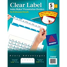 Avery Index Maker Clear Label Dividers, Easy Apply Label Strip, 5-Tab, Blue, 5 Sets (11410)
