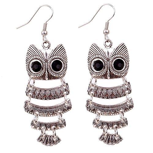 Yazilind-Retro-Tibetan-Silver-Enamel-Owl-Ear-Wire-Hook-Dangle-Earrings