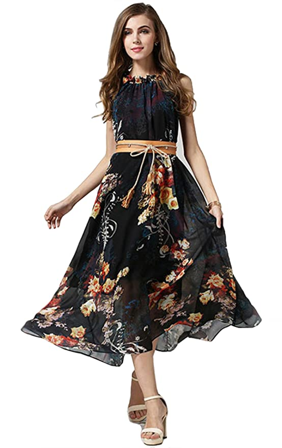 SheIn Women's Black Bohemia Print Tie-waist Maxi Dress