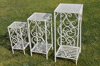 Juego de 3 mesas auxiliares o jardineras estilo Versalles con un acabado blanco antiguo - Ideal para la casa o el jardín