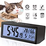 Alarm Clock for Bedroom Travel Digital LCD Clock Snooze Touch Sensor Battery Operated Alarm Clock for Kids Heavy Sleepers Large Display Time Date Month Temperature Fits Bedroom Office Dormitory (Color: Black)