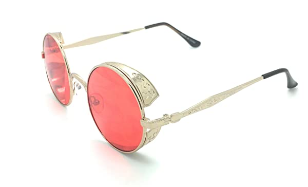 76188ff1a0d93 Steampunk Retro Gothic Vintage Hippie Colored Metal Round Circle Frame  Sunglasses UV Production (Gold Red