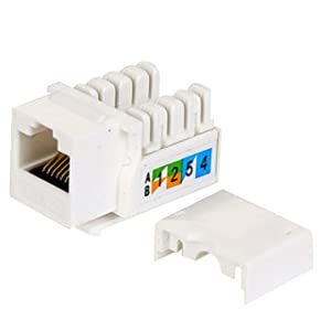 (50-Pack) Cat6 Keystone Jack - [UL Listed] - Ethernet Wall Jack - Wall Cat6 - Cat6 Network Coupler - Keystone Jack - Cat5/5e/6 Compatible - Cat6 Network Coupler . (Color: white, Tamaño: 50 Pack)