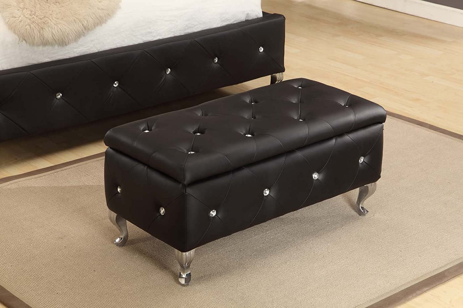 Kings Brand Tufted Design Black Upholstered Storage Bench Ottoman New Ebay