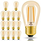 Hizashi 15 Pack 2W Dimmable LED S14 2200K Warm Filament Bulbs Medium Base (E26), Outdoor Amber Edison Bulbs, 25W Equivalent, Outdoor String Lights Bulbs Replacement, UL Listed (Color: 2 Watt 15 Pack)