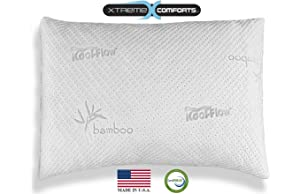 Hypoallergenic Bamboo Pillow - Shredded Memory Foam With Kool-Flow Micro-Vented Bamboo Cover - Made in the USA by Xtreme Comforts - Hypoallergenic and Dust Mite Resistant