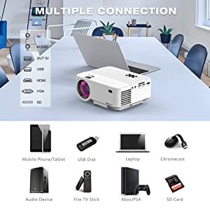 Mini Projector, T TOPVISION 2400Lux Projector with Synchronize Smart Phone Screen, Supported 1080P, 176 Display, 50,000 Hours Led, Compatible with Fire TV Stick/HDMI/VGA/USB/TV/Box/Laptop/DVD (Color: white, Tamaño: 1 Pack)