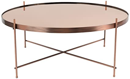 Zuiver 2300050 Cupid Table Basse Verre Cuivre XXL 82,5 x 82,5 x 35 cm