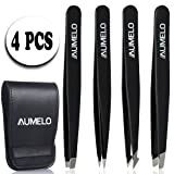 Tweezers Set 4-Piece Professional Stainless Steel Tweezers with Travel Case by AUMELO - Precision Eyebrow and Splinter Ingrown Hair Removal Tweezer Tip for Men and Women - Black (Color: Black)