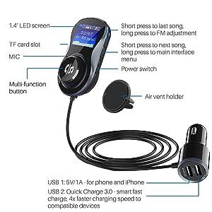 SONRU Bluetooth FM Transmitter for Car, MP3 Player Bluetooth Handsfree Car Kit Wireless Radio Audio Adapter, 1.44 Inch LED Display, Dual USB Ports A2DP Crystal Sound Quality