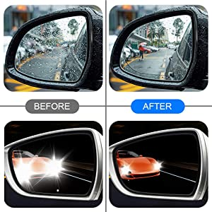4 Pcs Car Rear View Mirror Film Rainproof Anti-Fog Anti-Glare Anti-Mist Anti-Scratch HD Mirror Window Film and 2 Pcs Blind Spot Mirrors Waterproof Convex Wide Angle for Car Mirrors Side Windows