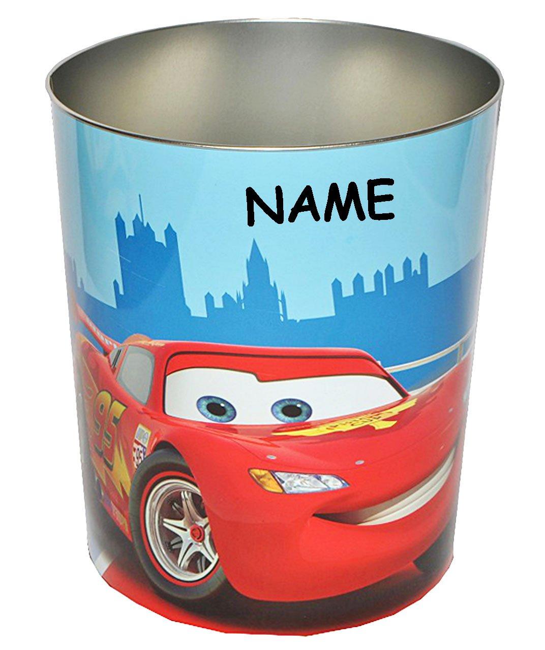 Disney Cars – Lightning McQueen – Papierkorb – incl. Name – Abfallbehälter Kinderzimmer – Auto Mc Queen Hook WGP – Fahrzeuge / stabiler Metall – Mülleimer Eimer – Aufbewahrungsbox für Kinder Jungen günstig kaufen