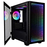 CUK Micro Continuum mATX Gaming Desktop Case with Tempered Glass Door (6 Addressable RGB Lotus Fans Pre-Installed, Remote Controller, Motherboard Sync) (Color: Continuum Micro, Tamaño: Micro ATX)