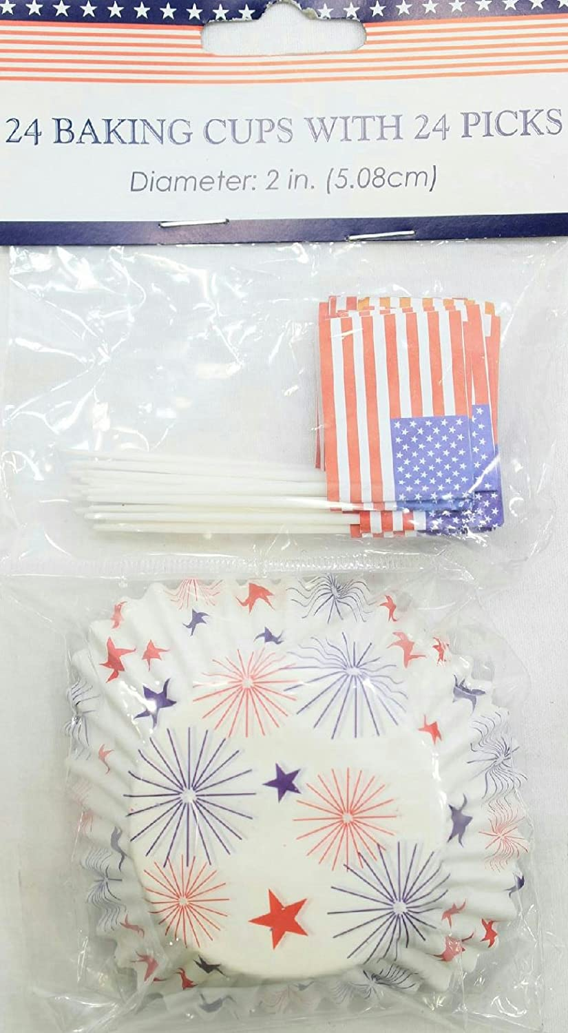 24 Baking Cups w/ 24 Flag Picks Patriotic Stars Fireworks Cupcake Paper July 4th 4th july usa flag heart white halter patriotic star girl one piece dress 1 8year mahd048