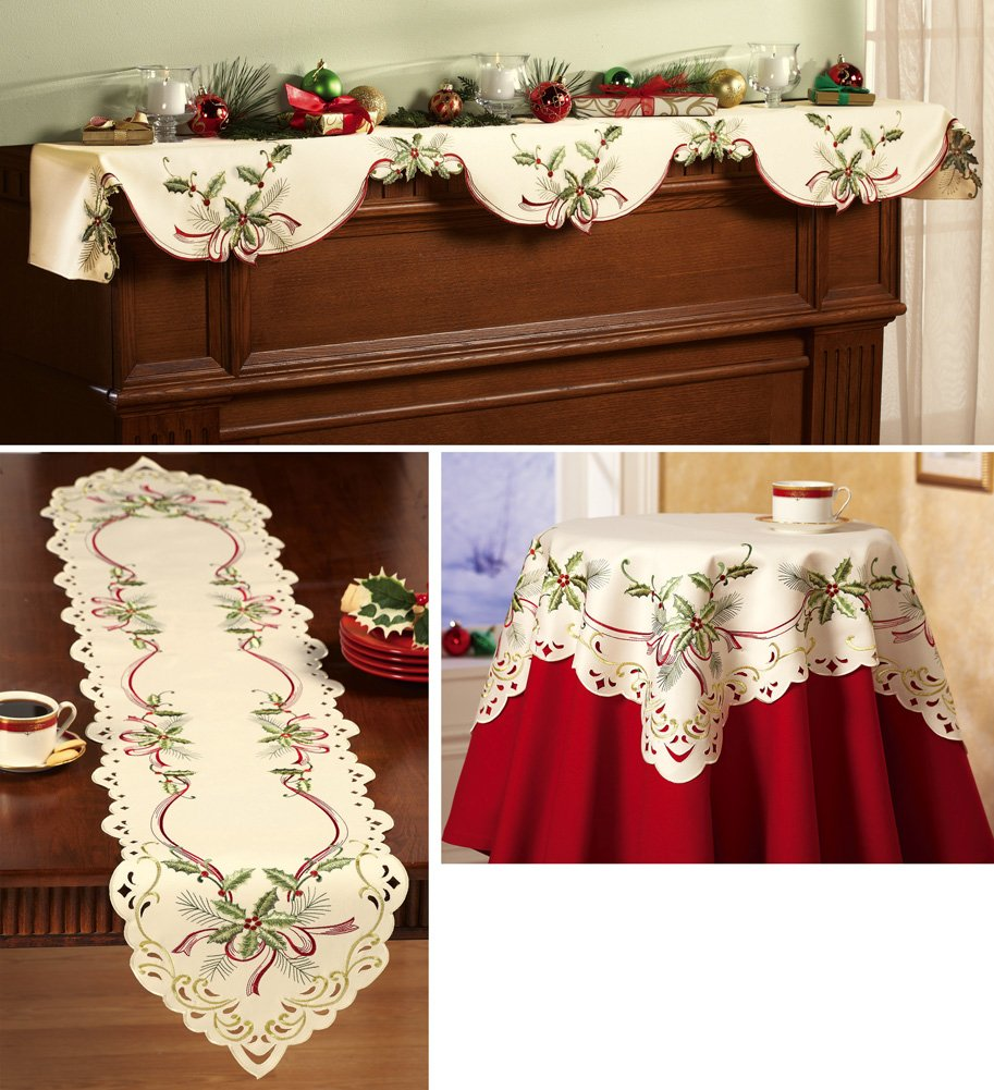 Holiday Hollyberry Embroidered Table Linens Runne