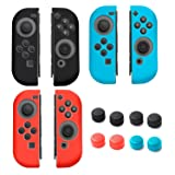 Insten [3 Pairs] Joy-Con [L/R] Cover for Nintendo Switch With [4 Pairs] Thumb Grip Stick Caps, Joy Con Left/Right Controller For Nintendo Switch Console[2017 New Release], Multi-color (Color: [3 Pairs] L/R Cover + [4 Pairs] Thumbstick Caps)