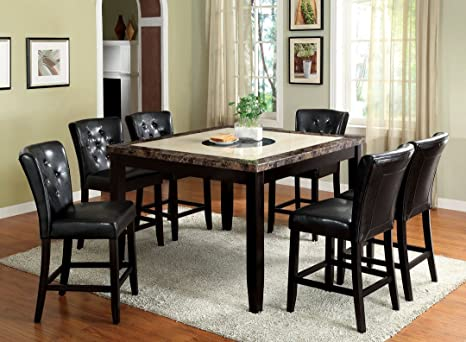 7 Pc. Belleview II Dark Gray and White Faux Marble Table Top and Black Wood Finish Wood Counter Height Dining Set