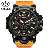 RELOJ SMAEL PARA HOMBRES - Sports Analog Quartz Watch Dual Display Waterproof Digital Watches with LED Backlight relogio masculino (Orange black)