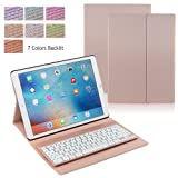 iPad Pro 12.9 Case with Keyboard, iEGrow F16S+ 7 Color Backlit Keyboard + Smart Folio PU Leather Case for iPad Pro 12.9 Inch 2015 and 2017 Released Model A1584/A1652(Gold Pink) (Color: Gold Pink(for Pro 12.9), Tamaño: for iPad Pro 12.9)