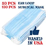 3 Ply Disposable Mask with Elastic Ear Loops - Mask 50 PCS - Soft & Comfortable Filter Safety Mask for Dust Protection - Protective (Tamaño: 50 pcs)