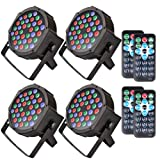 KOOT Stage Lights Par Light Wash Light with RGBW-36 LEDs DJ Light Controlled By Remote and DMX Control-Best for Karaoke Club Disco Bar Wedding Show(4 pack) (Color: 4 ps)