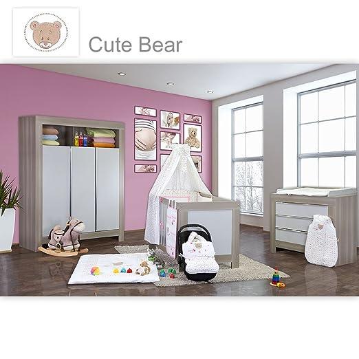 Babyzimmer Felix in akaziengrau 21 tlg. mit 3 turigem Kl. + Cute Bear in Rosa