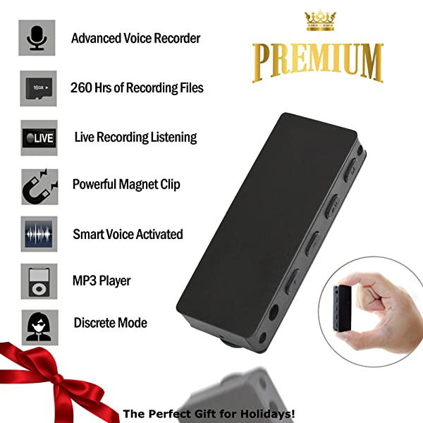Small Voice Recorder 16GB-TCTEC Mini Voice Activated Recorder [Bonus Value] Easy to Use - Playback On The Go-MP3 Player -Live Recording Listening- Long Battery Life - Ultra Light - Durable