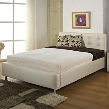 "Hf4You 4Ft6 Double Fabric Upholstered Bedstead Frame - Butterscotch Cream - 6"" Memory Foam Mattress"