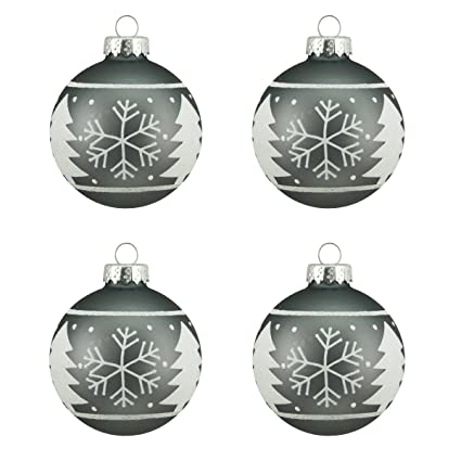 Alpine Chic Matte Gray with White Snowflake Design Glass Ball Christmas Ornaments 2.5-inches - Set of 4 by Northlight