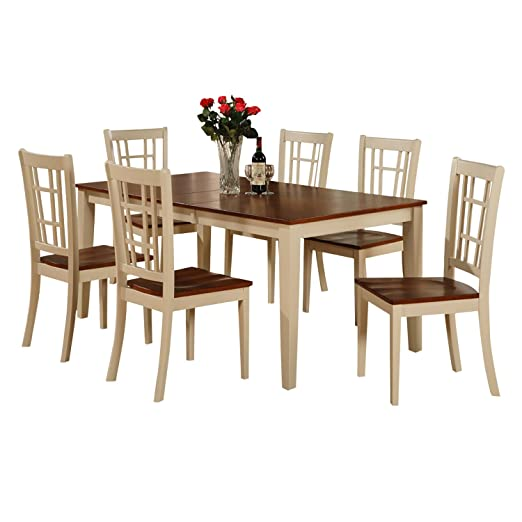 East West Furniture NICO5-WHI-W 5-Piece Dining Table Set, Buttermilk/Cherry Finish