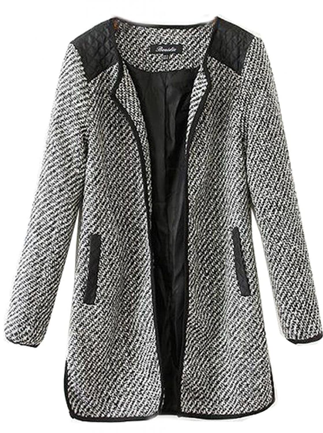 Womens Vogue Wool Cashmere Long Winter Slim Parka Coat Trench Outwear Jacket wool long trench coat