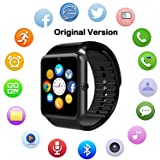 Bluetooth Smart Watch with Camera, Touch Screen Smartwatch with Sim Card Slot Fitness Tracker for Android/Samsung /iOS Apple Smart Phones (Original Version) (Black) (Color: black)