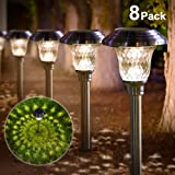 Solar Lights Bright Pathway Outdoor Garden Stake Glass Stainless Steel Waterproof Auto On/off White Wireless Sun Powered Landscape Lighting for Yard Patio Walkway Landscape In-Ground Spike Pathway (Color: stainless steel 8pack, Tamaño: 8pack)