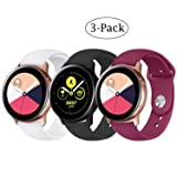 Fit Samsung Galaxy Watch (42mm)/ Galaxy Watch Active (40mm) Bands, 3Pack 20mm Quick Release Stylish Sport Silicone Bands Straps Wristbands Bracelet Watch Band for 42mm Galaxy Watch (White Black Red) (Color: White Black Red)