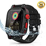 Waterproof Apple Watch 4 case - 44mm Waterproof iWatch 4 Case Waterproof Apple Watch Bands Series 4 iWatch 4 Series 44mm Waterproof Case for 44mm Apple Watch 4 Waterproof Case Band Black for Men Women (Color: RED)