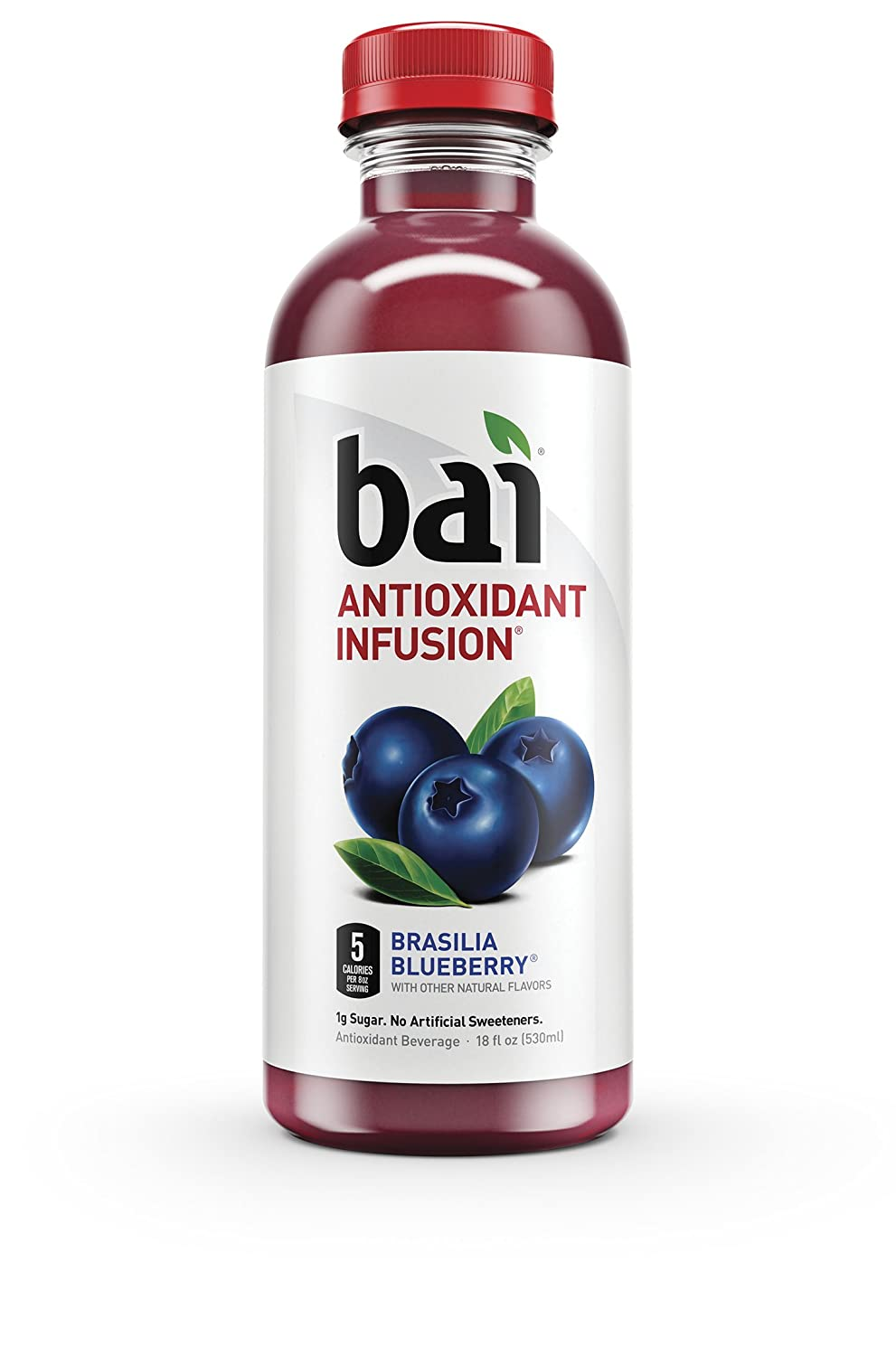 """""""Bai Brasilia Blueberry, 5 Calories, No Artificial Sweeteners, 1g Sugar, Antioxidant Infused Beverage (Pack of 12)"""""""