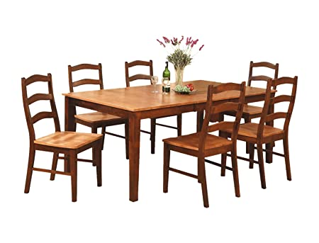 East West Furniture HENL5-BRN-W 5-Piece Dining Table Set