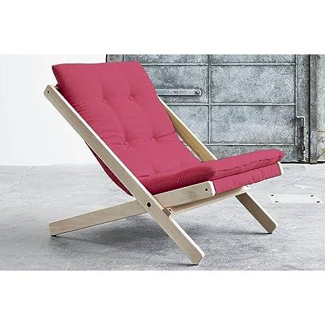 Poltrona Boogie scandinavo con materasso futon colore rosa magenta