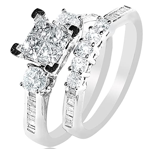 White-Gold-Diamond-Bridal-Set-Wedding-Rings-9ct-Just-Under-1ct-Princess-White-Gold