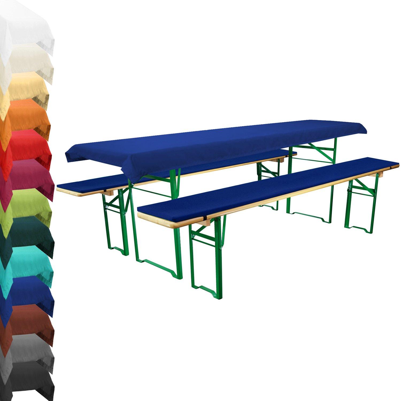 Auflagenset für Bierzeltgarnitur – Dunkelblau (Blau) – Gepolsterte Bierbankauflagen & Tischdecke (für 70 cm Tischbreite) kaufen