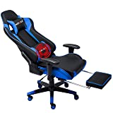 Nokaxus Gaming Chair Large Size High-Back Ergonomic Racing Seat with Massager Lumbar Support and Retractible Footrest PU Leather 90-180 Degree Adjustment of backrest Thickening sponges (YK-6008-BLUE) (Color: Yk-6008-blue, Tamaño: 84CMX65CMX32CM)