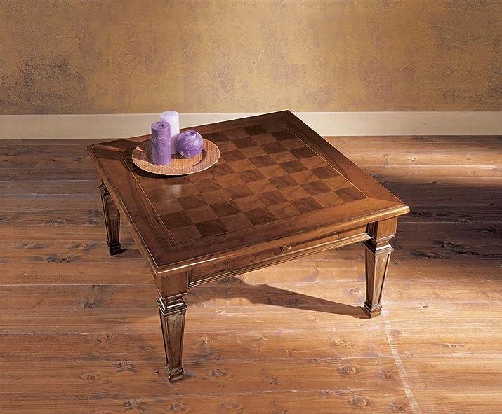 Tavolino quadrato con 1 cassetto, intarsio Scacchi e gambe smontabili. Produzione Italiana artigianale
