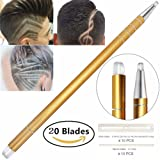 Professional Barber Hair Eyebrow Tattoo Razor Pen For Men & Women – Best Hair Cutting Device For Hair Art Design (Engraving Pen + 20 Stainless Steel Blades + Tweezers) Magic Haircut Razor Point Kit (Color: Gold)