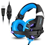 Gaming Headset,7.1 Channel Surround Stereo Sound USB Wired Over Ear Headphones with Noise Cancelling Microphone Separate Volume Control LED Light for PC Mac Laptop Computer(Black Blue) (Color: Blue)