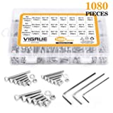 VIGRUE M2-M3-M4-1080PCS Stainless Steel Screws and Nuts, 1080 Pcs Hex Socket Head Cap, Silver (Color: Silver, Tamaño: 1080 Pcs Hex Socket head Cap Screws Nuts)