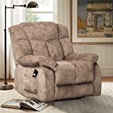 CANMOV Power Lift Recliner Chair - Heavy Duty and Safety Motion Reclining Mechanism-Antiskid Fabric Sofa Living Room Chair with Overstuffed Design, Khaki (Color: Camel)