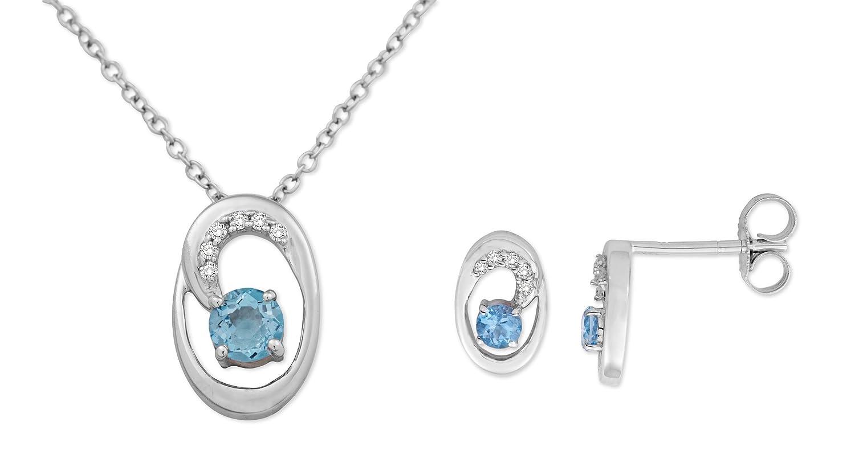 MIORE Damen-SchmuckSet Ohrringe und Anhänger 9 Karat (375) Weißgold Blau Topas und Diamant- USP029W günstig bestellen