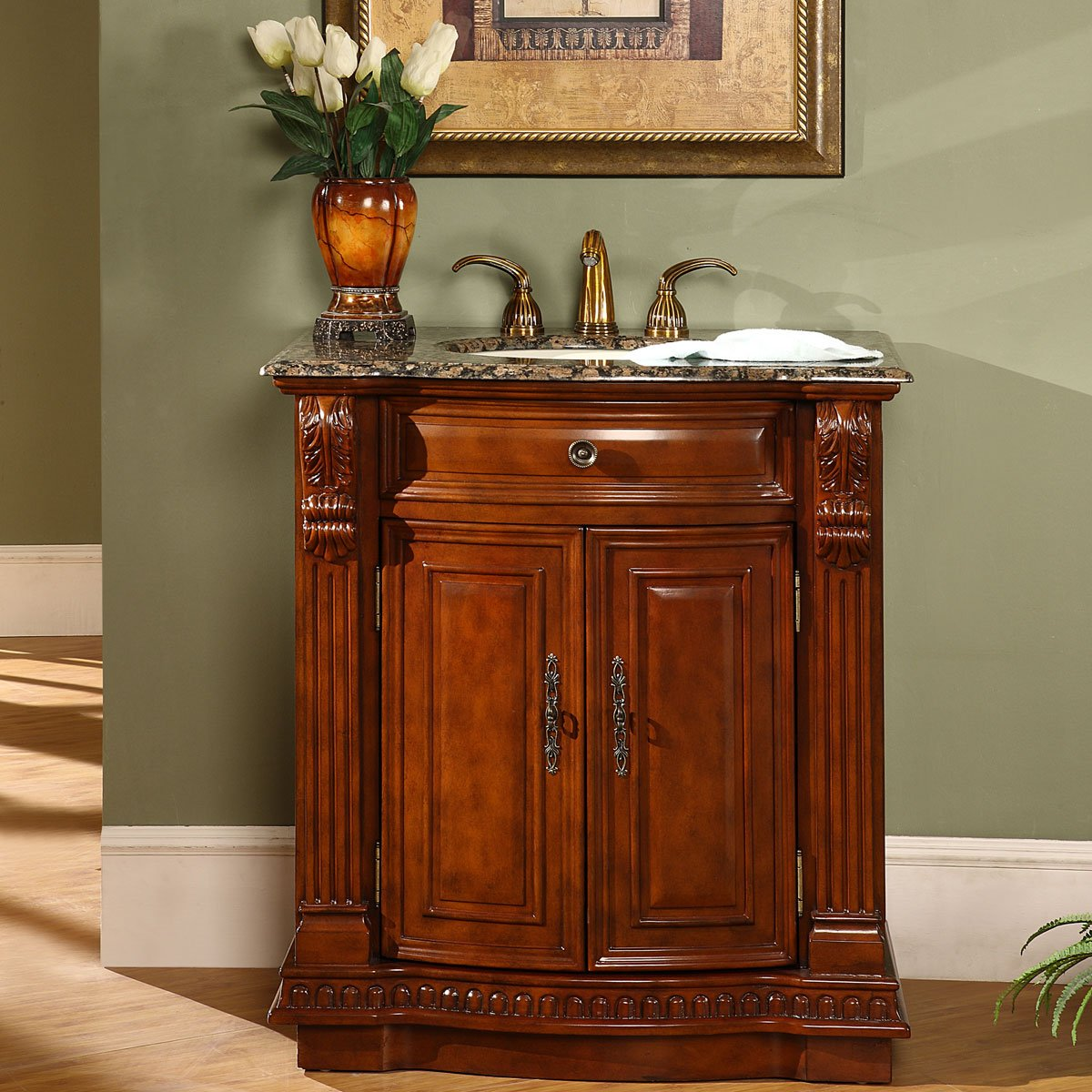 Silkroad Exclusive Granite Stone Top Single Sink Bathroom Vanity With Cherry Finish Cabinet 33 Inch