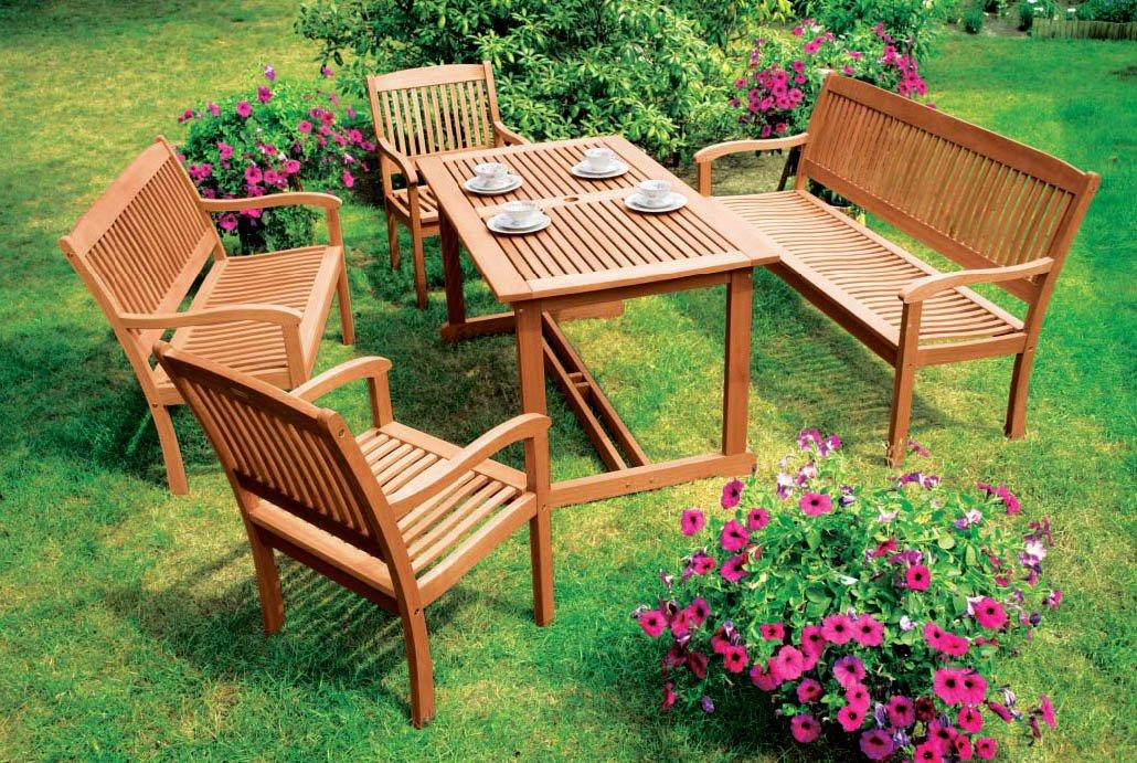 5-teilige Garnitur MARACAIBO, Eukalyptus Holz, geölt online bestellen