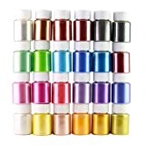 24 Colors Pigment Powder for Slime, Mica Powder for Epoxy Soap Making Cosmetic Colorant Makeup Bath Bomb Dyes Pearl Pigments Candle Dyes Glitter Shimmery Natural Non Toxic Powder Shimmer (Tamaño: 24 colors 10g each)
